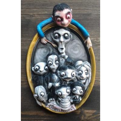Charles Addams e la sua Famiglia Addams Quadro 3D