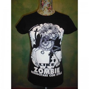 "T-shirt T-shirt Cantante ""Like a Zombie, Risorgere con Stile"""