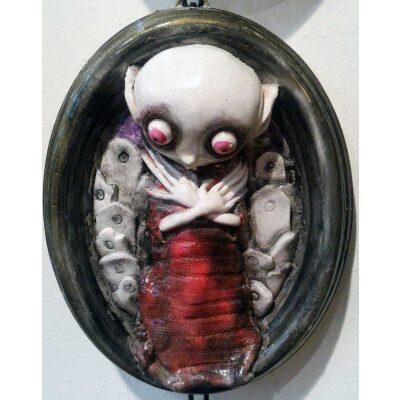 Giovane vampiro Nosferatu dormiente Quadro 3D