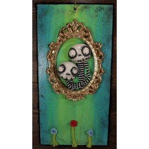 Quadri 3D Quadro Teschi Innamorati stile Jack Skeletron sfondo verde