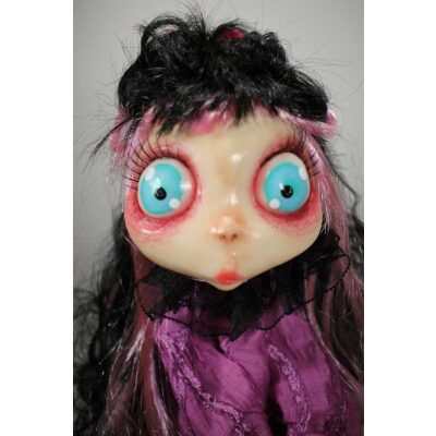 burattini Gothic Doll Puppet: Burattino Dama Black & Pink Rose
