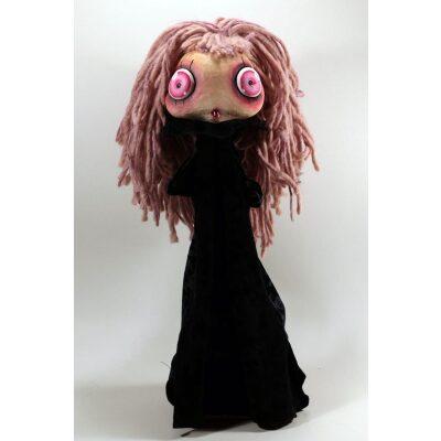 burattini Burattino Vampira piccola capelli rosa e vestito nero