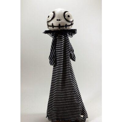 burattini Burattino Teschietto stile Jack Skeletron di Tim Burton con vestito righe bianche e nere