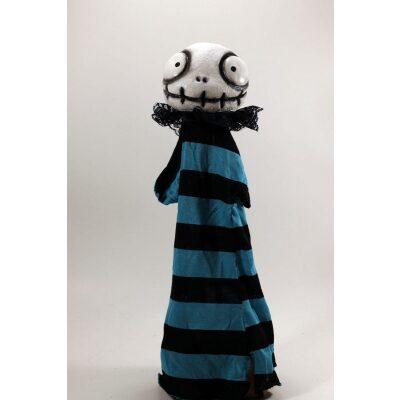 burattini Burattino Teschietto stile Jack Skeletron di Tim Burton con vestito righe blu e nere