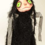 Gothic Doll Puppet: Burattino Dama Black & Pink Rose