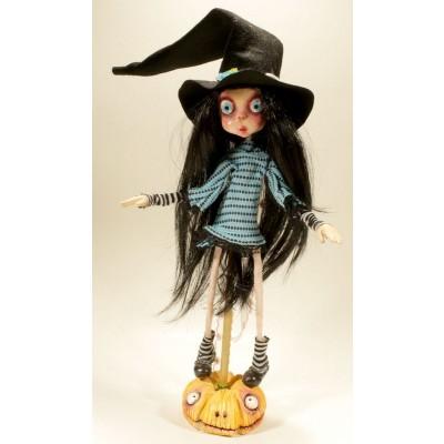 Gothic Doll: Bambola Streghetta capelli neri vestito blu