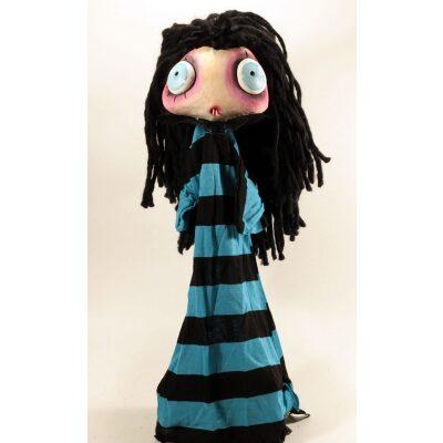 burattini Burattino Vampira piccola capelli neri e vestito azzurro e nero