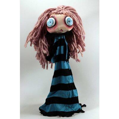 burattini Burattino Vampira piccola capelli rosa e vestito blu e nero