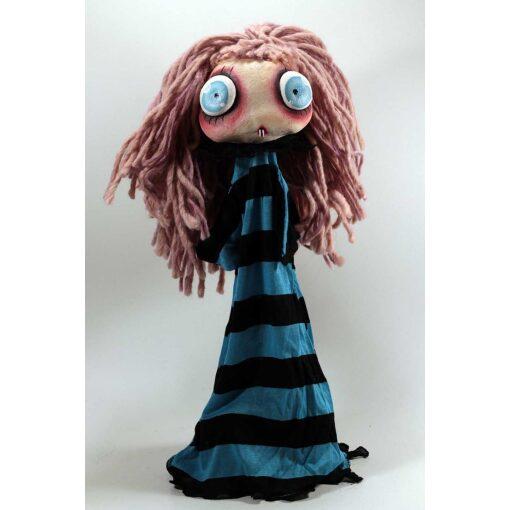 Burattino Vampira piccola capelli rosa e vestito blu e nero
