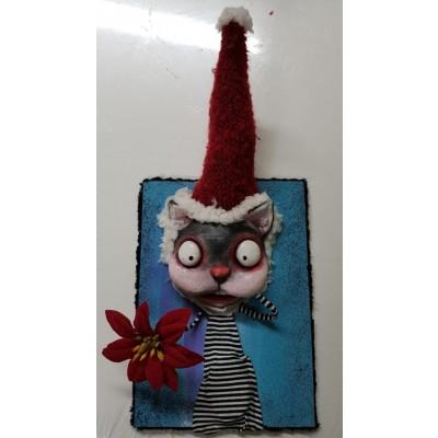 Quadro 3D Gatto con Stella di Natale