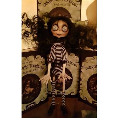 Bambola Bimba Zombie capelli neri vestito bianco/nero