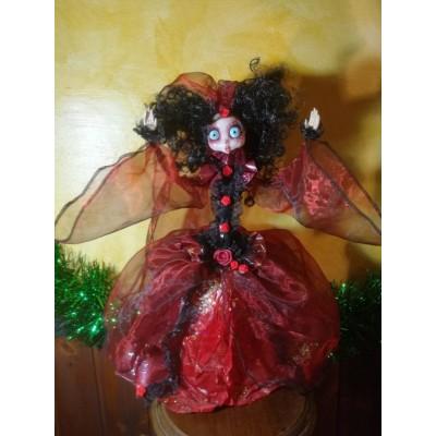 Bambola Lampada Gotica rossa con capelli neri